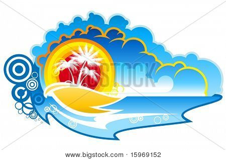 Tropical abstract background with palms and sunset - also as emblem or logo. Vector version also available in gallery