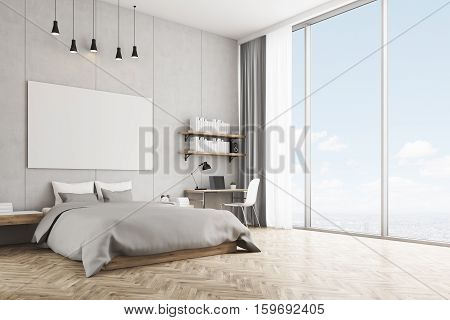 Bedroom With Concrete Wall And Wooden Floor