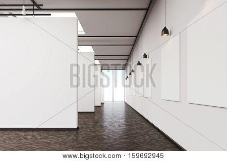 Long Corridor In Art Gallery With Dark Wood Floor