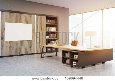 Corner Of A Ceo Office With Wooden Doors And A Bookcase, Toned