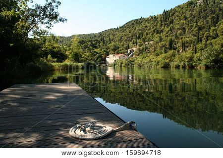 KRKA / River in Dalmatia (Croatia). Flows into the Adriatic Sea.