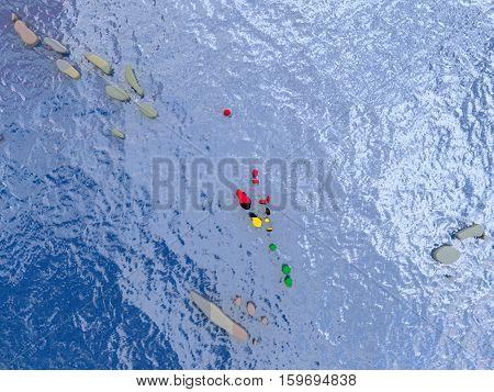 Vanuatu With Flag On Globe