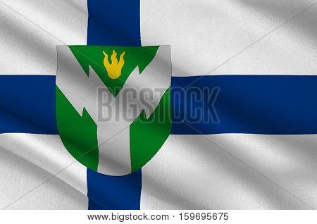 Flag Of Rovaniemi is a city and municipality in Province of Lapland is a province of Finland. 3d illustration