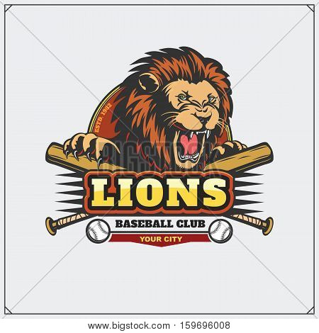 Baseball club emblem with head of lion.
