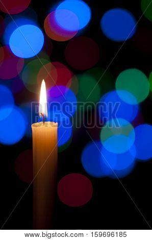 Candle And Christmas Background