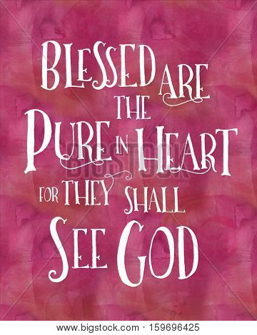 Blessed are the Pure in heart Typographic Art Poster Beatitudes Design, white on pink