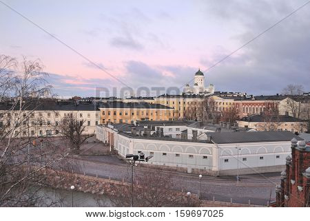 Finland.View of Helsinki at twilight in autumn