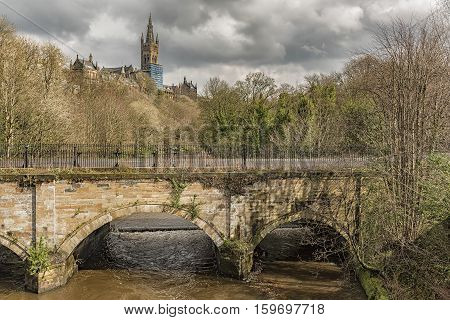 Glasgow university main building overlooks the river Kelvin in the west end of Glasgow Scotland.