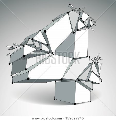 Abstract Vector Low Poly Wrecked Number 4 With Black Lines And Dots Connected. 3D Origami Futuristic