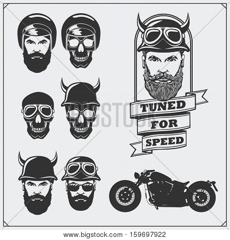 Collection of retro motorcycle labels, emblems and design elements. Helmets, goggles, bikers and racers. Vintage style. Monochrome design.