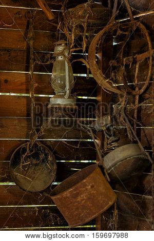 Old rusty and dusty objects of everyday life in the barn