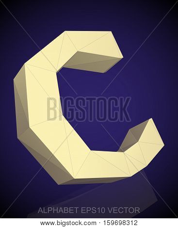 Abstract Yellow 3D polygonal uppercase letter C with reflection. Low poly alphabet collection. EPS 10 vector illustration.
