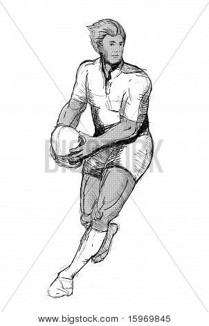 Rugby player running passing ball