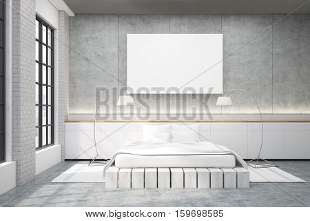 Master Bedroom With A Double Bed, A Poster And Two Lamps