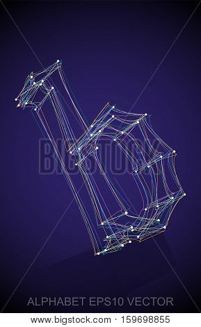 Abstract illustration of a Multicolor sketched lowercase letter B with Reflection. Hand drawn 3D B for your design. EPS 10 vector illustration.
