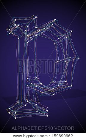 Abstract illustration of a Multicolor sketched lowercase letter P with Transparent Shadow. Hand drawn 3D P for your design. EPS 10 vector illustration.
