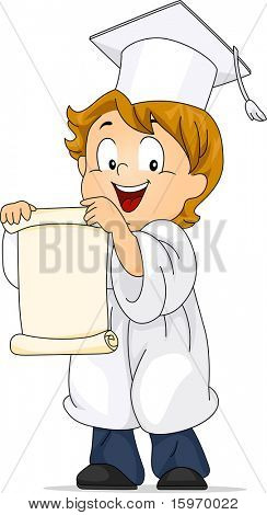 Illustration of a Kid Unfolding His Diploma