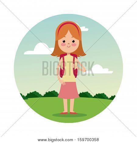 back school girl blonde student landscape background vector illustration eps 10