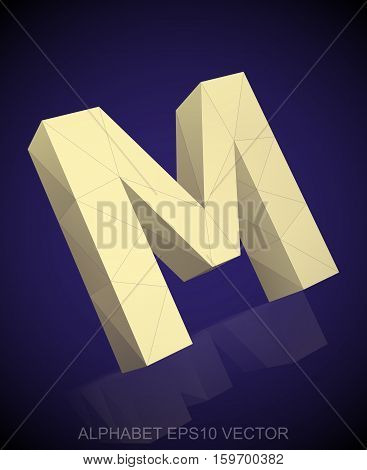 Abstract Yellow 3D polygonal uppercase letter M with reflection. Low poly alphabet collection. EPS 10 vector illustration.