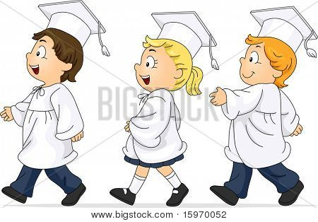Illustration of Kids Participating in the Graduation March