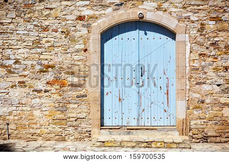 Close Up Of An Old Wooden Blue Door.