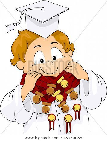 Illustration of a Kid Decorated with Medals and Ribbons