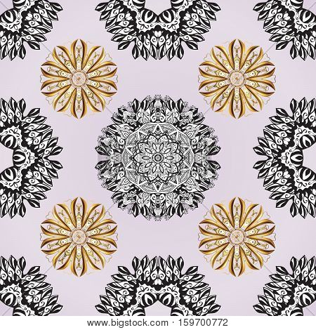 Hand drawn floral seamless pattern with white mandala and golden elements. Raster illustration