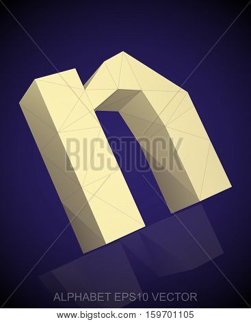 Abstract Yellow 3D polygonal lowercase letter N with reflection. Low poly alphabet collection. EPS 10 vector illustration.