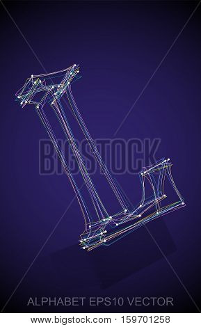 Abstract illustration of a Multicolor sketched uppercase letter L with Reflection. Hand drawn 3D L for your design. EPS 10 vector illustration.