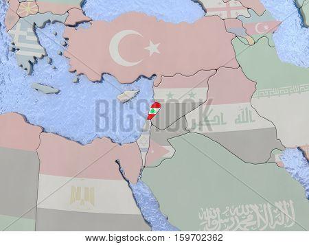 Lebanwith Flag On With Flag On Globe