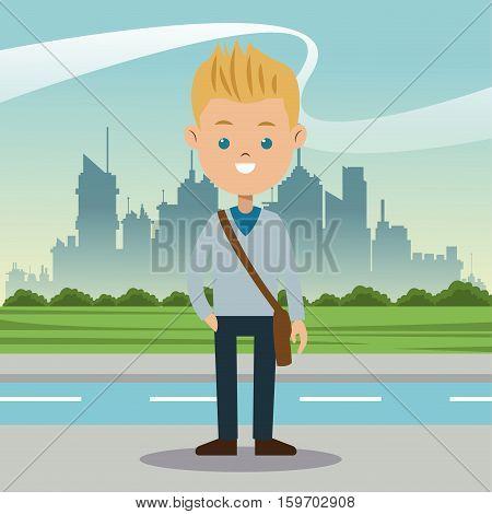 boy blond blue eyes student urban background vector illustration eps 10
