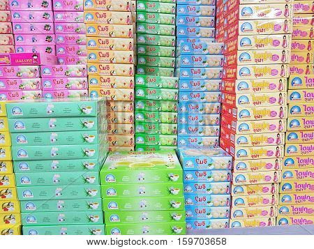 CHIANG RAI THAILAND - NOVEMBER 25: various brand of colorful mochi dessert in packaging for sale on supermarket stand on November 25 2016 in Chiang rai Thailand.