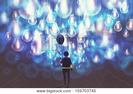 man with black balloon among a lot of glowing blue light bulbs, illustration painting