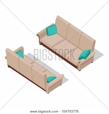 Sofa with pillows on two sides in isometric projection. Comfortable furniture vector illustration for stores ad, icons, infographics, logo, web and games environment design. Isolated on white
