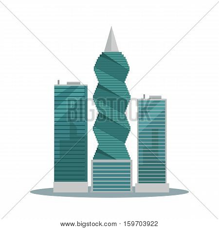 Panama-city buildings vector illustration. Skyscrapers in Panama capital. Modern architecture concept in flat style design. F F Revolution tower. Isolated on white background. poster