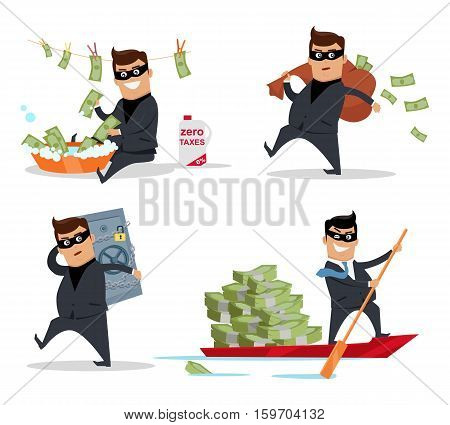 Set of money stealing concepts vector. Flat design. Financial crime, tax evasion, money laundering, corruption illustration. Man in a business suit, in mask washing, stealing, sail with money.
