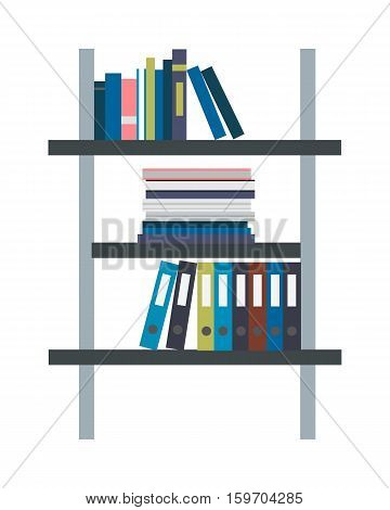 Storage of archive documents vector illustration in flat style design. Rack filled with binder and folders with documents. Furniture in the office. Isolated on white background