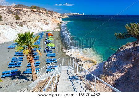 Palms, Sea And A Beautiful Beach Near Governors Beach, Cyprus.