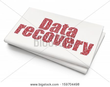 Data concept: Pixelated red text Data Recovery on Blank Newspaper background, 3D rendering