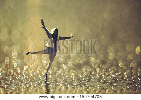 happy man dancing on wet street with bokeh background, illustration painting