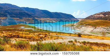 View Of The Kouris Reservoir. Cyprus.