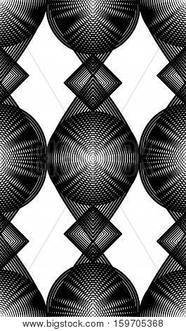 Continuous vector pattern with black graphic lines decorative abstract background with overlay ornament. Monochrome illusive seamless backdrop can be used for design and textile.