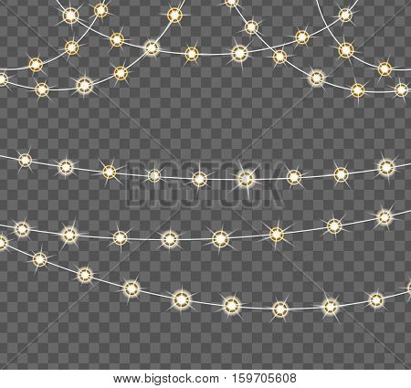 Garland with lights. Glowing light garland vector set. Christmas isolated realistic design elements. Xmas luminous decoration. Holiday greeting card design. Illustration with transparent background.