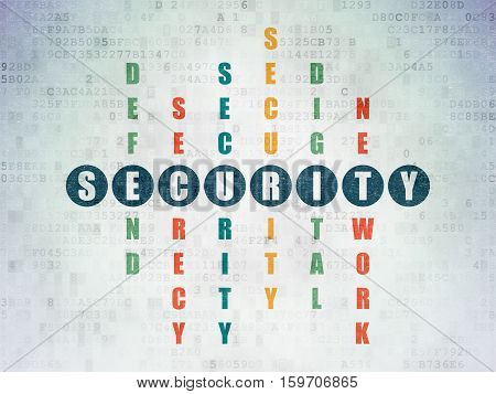 Security concept: Painted blue word Security in solving Crossword Puzzle on Digital Data Paper background