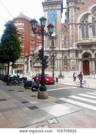 Oviedo, Asturias, Spain - May 13, 2015: Historic center of Oviedo, the Capital City of Principality of Asturias in Northern Spain. Ancient cathedral Iglesia de San Juan el Real