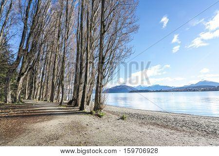 View of jogging track after winter season with nature morning sunlight at wanaka lake New Zealand