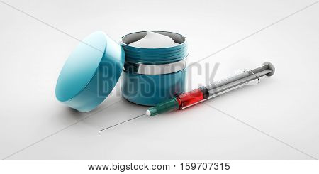 Illustration Of Hyaluronic Acid Cream With Syringe Isolated