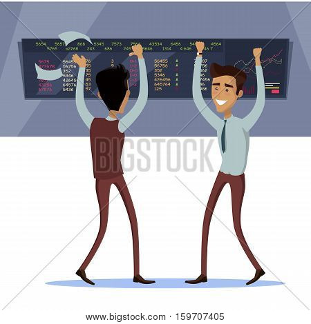 Business team work success concept. Online trading. Brokerage trading on the stock exchange vector in flat style design. Two businessman s enjoys success deal on stock market illustration.
