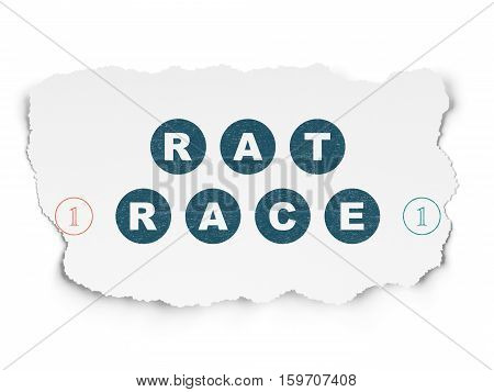 Finance concept: Painted blue text Rat Race on Torn Paper background with Scheme Of Binary Code
