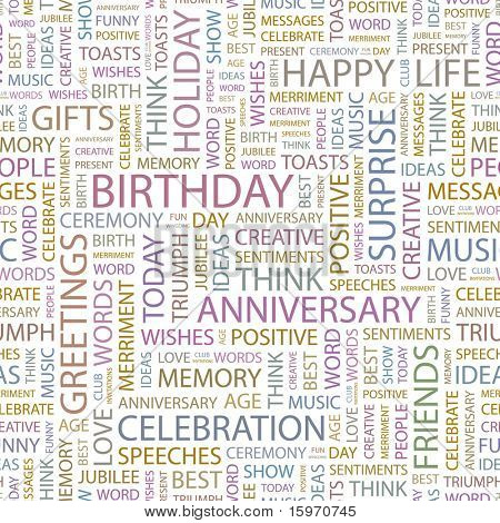 BIRTHDAY. Seamless vector pattern with word cloud. Illustration with different association terms.
